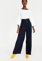 STYLE REPUBLIC - Wide Leg Lace-up Trouser Navy