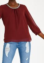 ONLY - Nete 3/4 Sleeve Top Burgundy