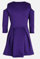 Rebel Republic - Cold Shoulder Dress Mid Purple
