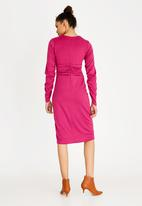 STYLE REPUBLIC - Ruched Sleeve Dress - pink