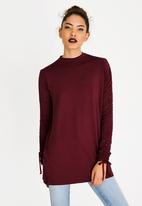 c(inch) - Ruched Sleeve Tunic Burgundy