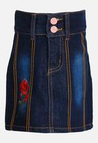 POP CANDY - Denim Skirt with Flower Embriodery Dark Blue