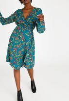 edit - Longsleeve Cross Over Dress Mid Blue