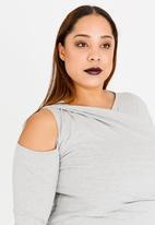 edit Plus - Twist Front T-shirt Grey Melange