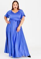 AMANDA LAIRD CHERRY - Thulisile Satin-like Maxi Dress Cobalt