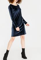 ONLY - Velvet Dress Navy