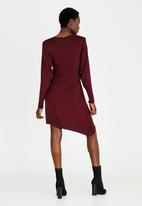 STYLE REPUBLIC - Asymmetrical Cut Out Dress Burgundy