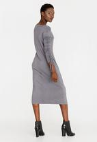 edit - A-line Dress with Draw-chord Sleeve Grey