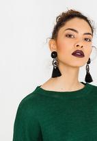 STYLE REPUBLIC - Tassel Drop Earrings Black