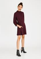 c(inch) - High Neck Fit And Flare Dress Burgundy