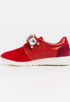 STYLE REPUBLIC - Satin Rhinestone Sneakers Burgundy