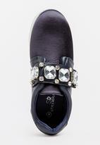 STYLE REPUBLIC - Satin Rhinestone Sneakers Navy