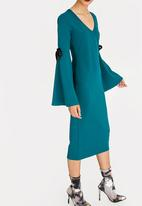 STYLE REPUBLIC - Bell Sleeve Bodycon Dress Turquoise