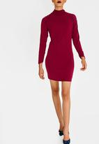 STYLE REPUBLIC - Ruched Sleeve Bodycon Dress Burgundy