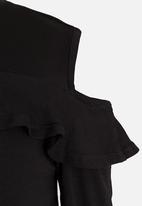 See-Saw - Cold Shoulder Top Black