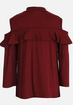 See-Saw - Cold Shoulder Top Burgundy