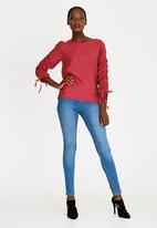 edit - Long Sleeve Blouse with Drawcord Dark Red
