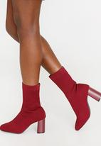 Jada - Fitted Sock Boots Burgundy