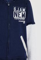 POP CANDY - Printed Zip Through Jacket Navy