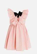 POP CANDY - Gathered Dress with Ruffle and Back Bow detail Mid Pink
