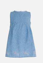 POP CANDY - Denim Dress with Flower Hem detail Blue