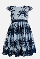 POP CANDY - Floral Printed Dress with Satin Belt Dark Blue