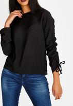 edit - Long Sleeve Blouse with Drawcord Black
