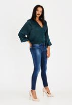 edit - Wrap Over Blouse with Kimono Sleeve Dark Green