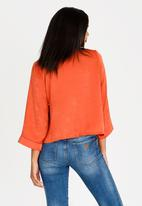 edit - Wrap Over Blouse with Kimono Sleeve Orange