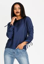 edit - Long Sleeve Blouse with Drawcord Navy