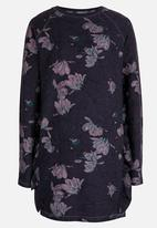 name it - Long Sleeve Floral Printed Sweat Dress Navy