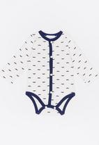POP CANDY - Moustache printed bodysuit - white & navy