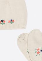 Soobe - Girls Beanie and Gloves Sets Beige