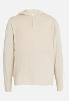 Rebel Republic - Hooded Button Up Henley Jersey Beige