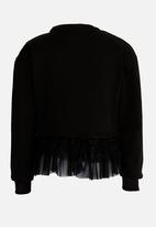Rebel Republic - Frilled Combo Sweater Black