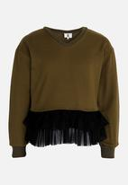 Rebel Republic - Frilled Combo Sweater Mid Green