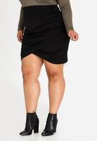 STYLE REPUBLIC PLUS - Tummy Control Wrap-Over Skirt Black