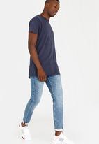 Brave Soul - Harrel short sleeve longer length tee - navy