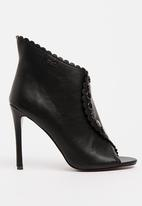 Plum - Monica Scalloped Ankle Boots Black