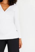 Cherry Melon - Maternity Gauged Wrap Top Long Sleeve - White