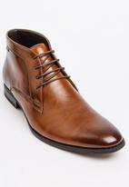 Gino Paoli - Plain Derby Lace Up Boot Tan