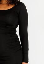 Cherry Melon - Maternity Round Neck Top with Side Detail Long Sleeve - Black