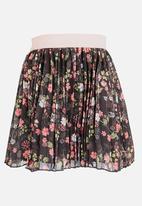 MINOTI - Pleated Skirt with Velour Waistband Charcoal