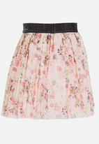 MINOTI - Pleated Skirt with Velour Waistband Pale Pink