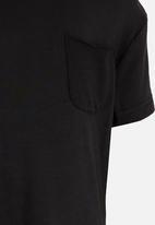 MINOTI - Longer Length Tee with Raw Edge Chest Pocket Black