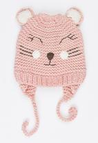MINOTI - Reverse Cat Face Beanie with Ear Flap Mid Pink