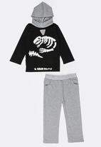 POP CANDY - Printed Hoodie & Pants Set Black and Grey