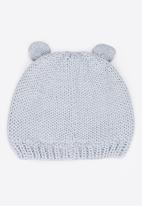 MINOTI - Bear Face Beanie with Ears Flaps Pale Blue