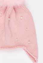POP CANDY - Pom-Pom Beanie with Plaited Sides Pale Pink