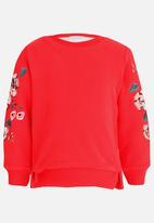 POP CANDY - Embroidered Sleeve Sweat Top Coral